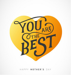 mothers day greeting card with golden heart vector image vector image