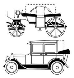 set of silhouettes of old cars vector image vector image