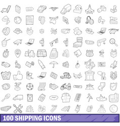100 shipping icons set outline style vector image