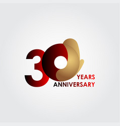 30 years anniversary celebration red gold vector