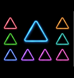 Abstract neon triangle set light effect vector