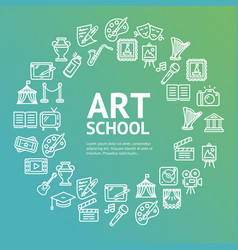 art school round design template line icon concept vector image