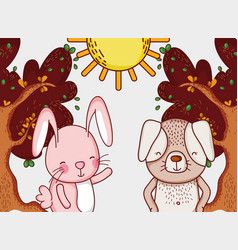 bunny and dog in forest doodle cartoons vector image