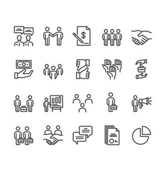 business cooperation line icon isolated set vector image