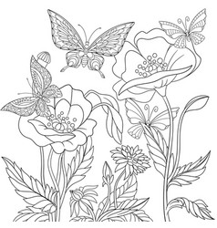 Butterflies and poppy flowers adult coloring page vector