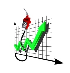 Chart of growth fuel prices with gas pump nozzle vector image