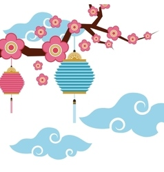 chinese lanterns and flowers decoration vector image