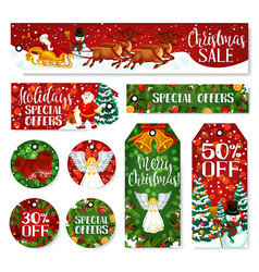 Christmas winter holiday sale tag and labels vector