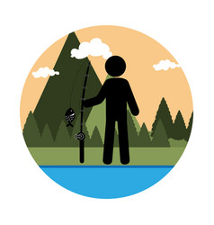 Colorful circular landscape with man fishing vector