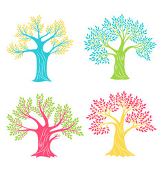 coloured oak trees beech or olive antique tree vector image