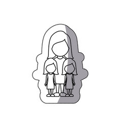 Contour woman her girls twins icon vector