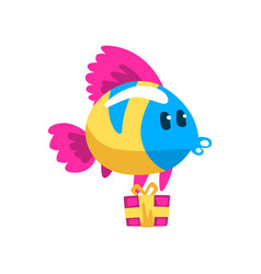 cute colorful fish with gift box little sea vector image