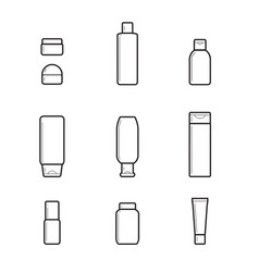 Dispensers batchers line drawing set cosmetic vector