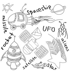 Drawn alien and rockets on white vector