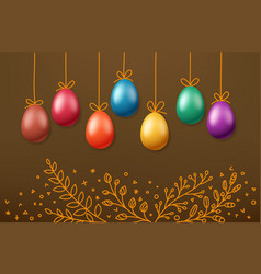 Easter eggs on rope holiday banner easter vector