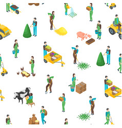 farmers at work 3d seamless pattern background vector image
