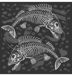 Fish bone drawing vector