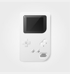 Game boy 3d realistic white in 80s and 90s vector