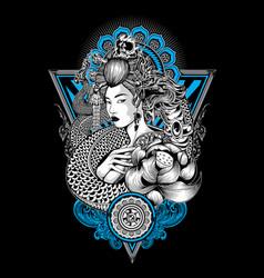Geisha king nagas thailand lotus tattoo skull vector