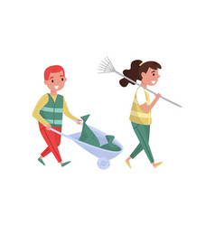 girl and boy gathering garbage and plastic waste vector image