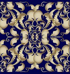 gold baroque seamless pattern dark blue vector image