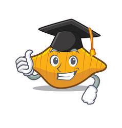Graduation conchiglie pasta character cartoon vector