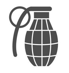 Grenade with check solid icon bomb vector