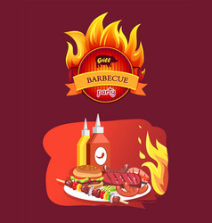 grill barbecue party and dishes vector image