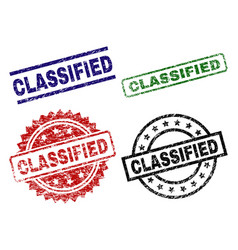 Grunge textured classified seal stamps vector