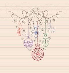hand draw doodle christmas ornament vector image