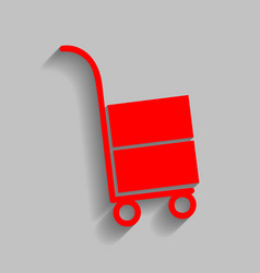 hand truck sign red icon with soft shadow vector image