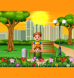 happy father and her son in city park vector image