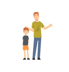 happy father and son standing together cartoon vector image