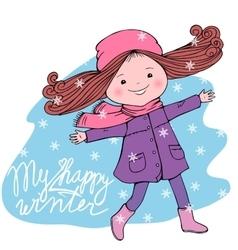 Happy girl with My happy winter inscription vector image