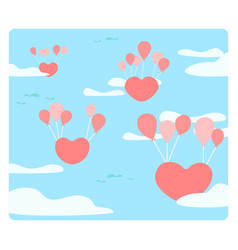 heart is floating on sky with balloons the vector image