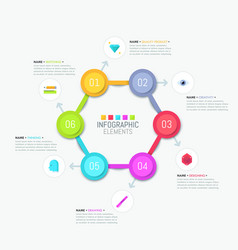hexagonal diagram with multicolored elements vector image