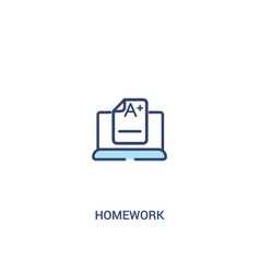 Homework concept 2 colored icon simple line vector