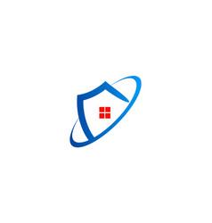 house shield protect logo vector image