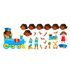 indian girl kindergarten kid animation vector image