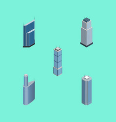 Isometric building set of residential building vector