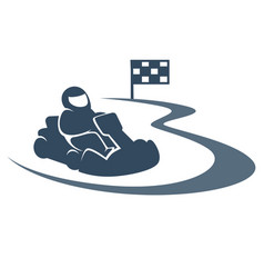 Karting promotional monochrome emblem with racer vector