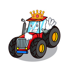 King tractor mascot cartoon style vector