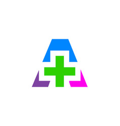 letter a cross plus medical logo icon design vector image