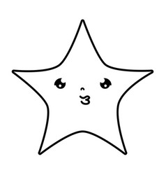 Line kawaii cute shiny star art vector