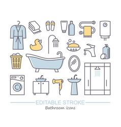line set icons - bathroom vector image