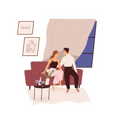 Love couple on romantic date with wine at home vector