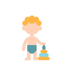 Male toddler flat color icon vector