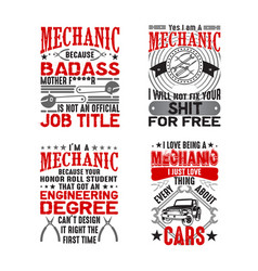 Mechanic quote and saying set good for print vector