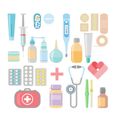 Medicine and drugs icon set in flat style vector