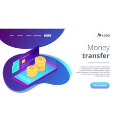Money transfer isometric 3d landing page vector